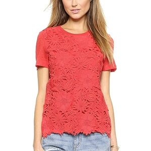 Tory Burch Katama Embroidered Floral Tee Red